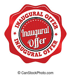 Inaugural offer sticker, icon,stamp or label - Red...