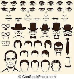 man face parts - vector men eye, mustache, glasses, hat,...