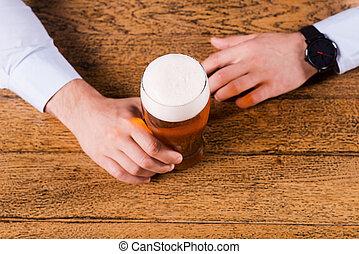 cerveza, tiempo, cima, vista, macho, Manos, tenencia,...