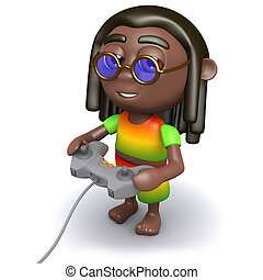 3d Rasta playing a video game - 3d render of a rastafarian...