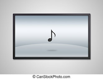 TV display with entertainment music icon - music icon is...