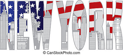 New York City Skyline Text Ooutline Illustration - New York...