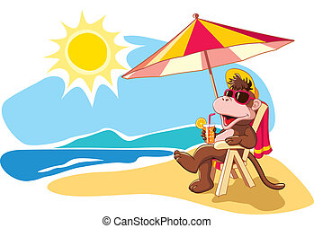 Summer vacation by the sea, cartoon - Funny cartoon monkey...