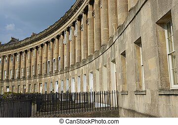 Historic address - Royal Crescent. Large crescent of houses...