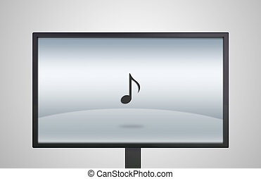 desktop Monitor display with music icon - music icon is...