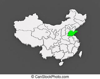 Map of Shandong. China. 3d