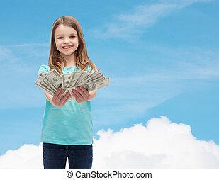 sorrindo, pequeno, menina, Dar, dólar, Dinheiro,...