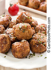 Gourment balls - Selective focus on the front gourmet balls