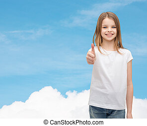 girl in blank white t-shirt showing thumbs up - t-shirt...