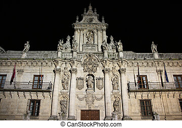 Valladolid university - Night view of illuminated university...