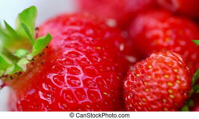 Strawberries - Fresh ripe perfect strawberry. Rack focus