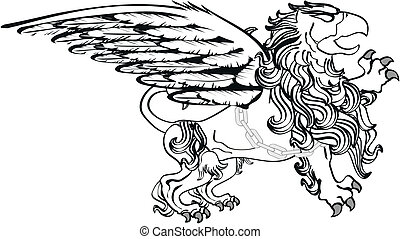 gryphon tattoo isolated0 - gryphon tattoo isolated in vector...