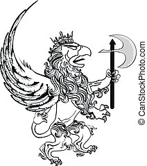 gryphon tattoo isolated3 - gryphon tattoo isolated in vector...