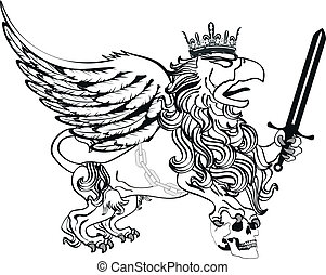 gryphon tattoo isolated4 - gryphon tattoo isolated in vector...