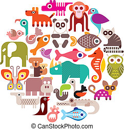 Animals round vector illustration