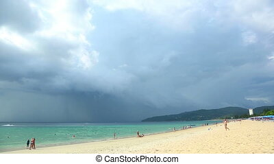 Tropical storm is coming at the Phuket. Timelapse.