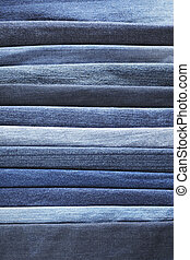 Blue denim - Different shades of blue jeans denim fabrics