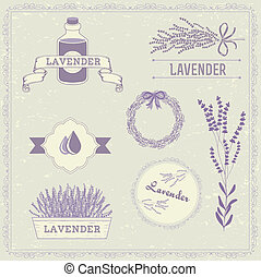 Lavender background, aromatherapy label