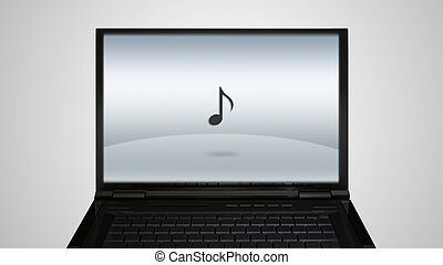 laptop monitor display with music icon - music icon is...