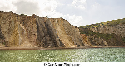 panoramic view of alum bay on the coast of the isle of wight