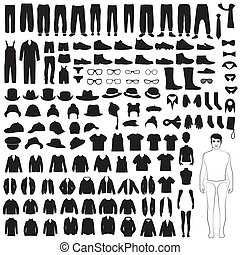 man clothing icon silhouette - man fashion icons, paper...