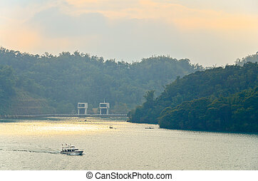 aéreo, vista, famoso, sol, luna, lago, Taiwán