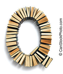 Letter Q formed from the page ends of books - Letter Q...
