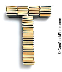 Letter T formed from the page ends of books - Letter T...