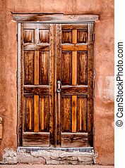 Colorful Doors of Santa Fe, NM - Wooden southwestern vintage...