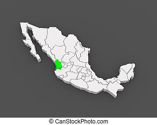 Map of Nayarit. Mexico. 3d