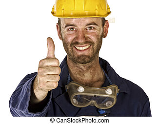 confident labourer thumn up - confident manual worker thumb...