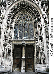 Lausanne cathedral - Beautiful, ornate, decorated door of...
