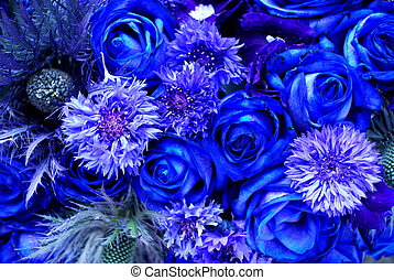 blue flowers - closuep of blue various flowers filling the...