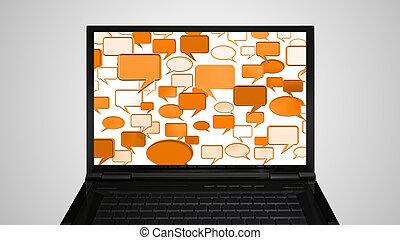 laptop Monitor display conversation orange