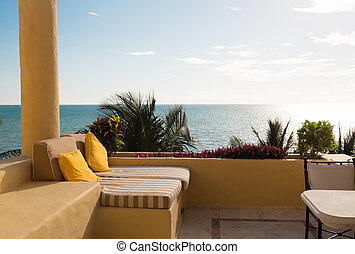 sea view from balcony of home or hotel room - vacation, home...