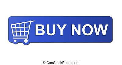 Buy Now Blue - Buy now button with a shopping cart on white...