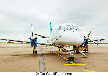 private plane at airport - plane, airport, tourism and...