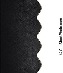 Black texture with white edge with gold trim. Design template. Design site