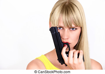 Girl with gun - Cute girl with gun or female cop, with copy...