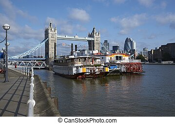 River Thames - The River Thames near Tower Bridge in London,...