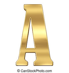 Letter A from gold solid alphabet