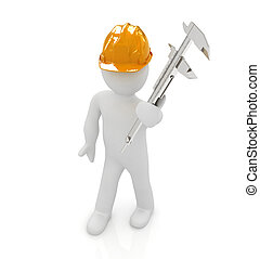 3d man engineer in hard hat with vernier caliper on a white...