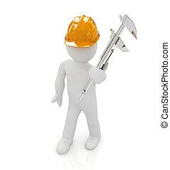 3D, hombre, ingeniero, duro, sombrero, vernier, Calibrador