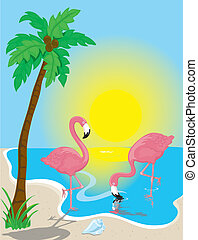 Flamingo Beach - Illustration of two pink flamingos on the...