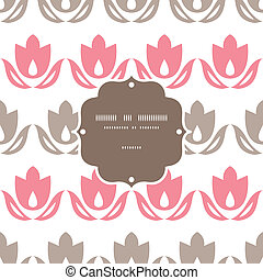 Pink and brown tulips stripes frame seamless pattern...