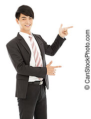 professional young business man finger to show something
