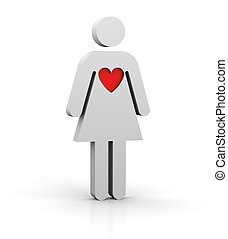 Woman with a big heart - Woman with a red big heart
