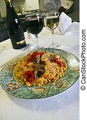 español, paella, vino, tabla