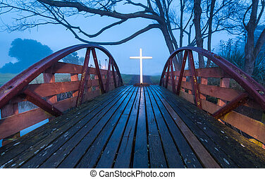 Salvation Bridge Cross - Foot bridge with a white cross at...