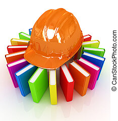 Colorful books and hard hat on a white background